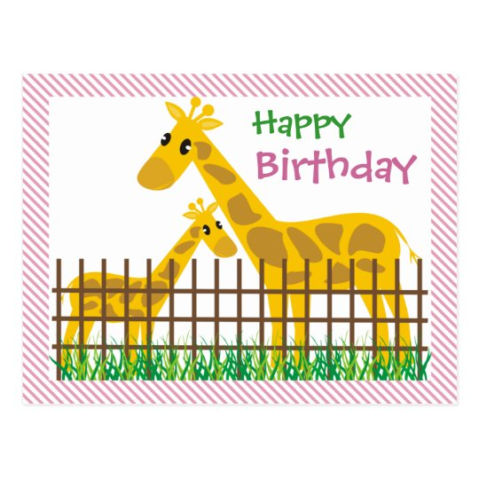 Two (Too) Cute Giraffes Happy Birthday Postcard