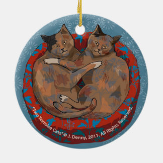 Two Tortoise Shell Cats... double sided Christmas Ornament