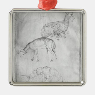 Two tortoises, goat and sheep Silver-Colored square decoration