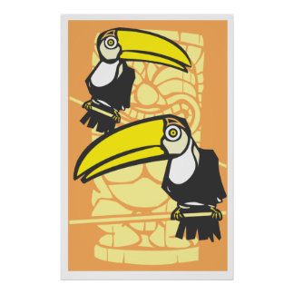 Two Toucans and Tiki Poster