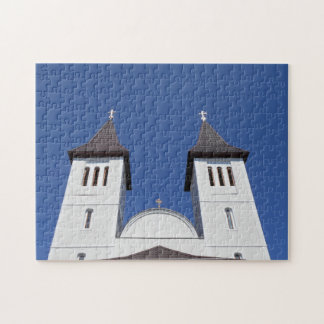 Two Towers And The Blue Sky Jigsaw Puzzle