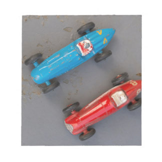 Two toy vintage cars notepad