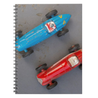 Two toy vintage cars spiral notebook
