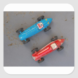Two toy vintage cars square sticker