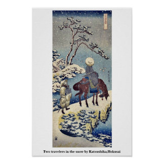 Two travelers in the snow by Katsushika Hokusai Posters