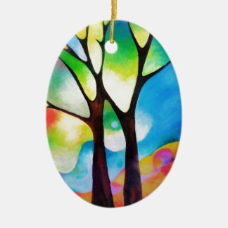 Two Trees Ceramic Oval Decoration