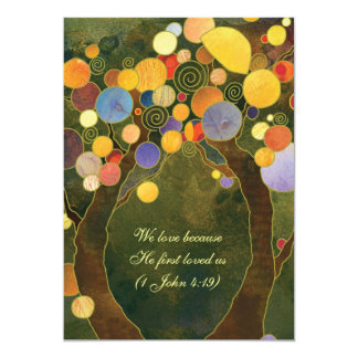Two Trees in Love Olive Green Wedding Invitation