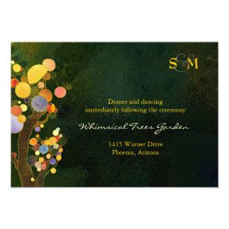 Two Trees Monogram Wedding Reception Card 3 5x5