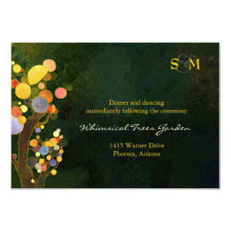 Two Trees Monogram Wedding Reception Card (3.5x5) Personalized Invites