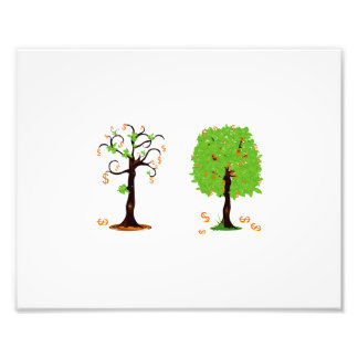 two trees with orange dollar signs falling off.png photographic print
