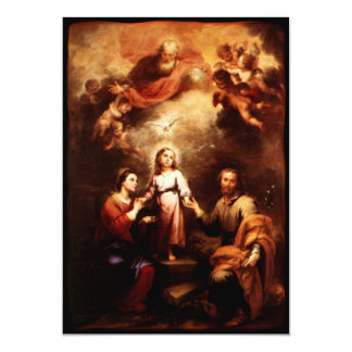 Two Trinities - The Holy Family - Murillo 13 Cm X 18 Cm Invitation Card