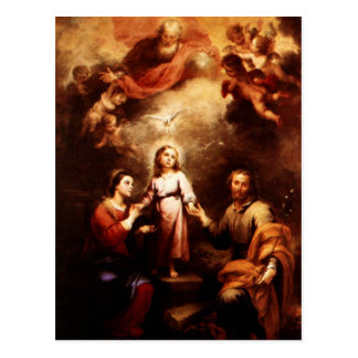 Two Trinities - The Holy Family - Murillo Postcard