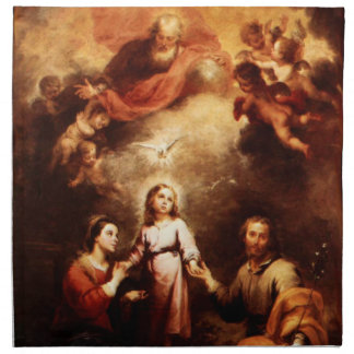 Two Trinities - The Holy Family - Murillo Printed Napkins