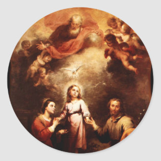 Two Trinities - The Holy Family - Murillo Round Sticker