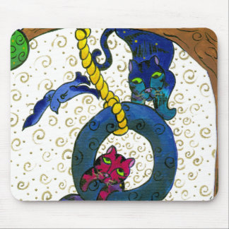 Two Tubby Tabby Cats Swinging From A Tree Mouse Pads