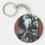 Two Turkeys on a Christmas Journey Key Chains