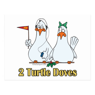 two turtle doves second 2nd day of christmas postcard