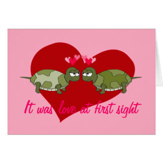 Two Turtles in Love Customizable Valentine Card