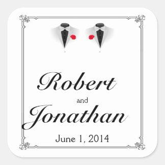 Two Tuxedos Gay Wedding Envelope Seal