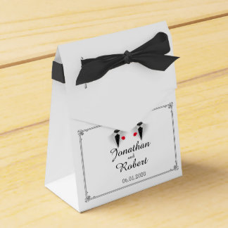 Two Tuxedos on White Gay Wedding Favor Box