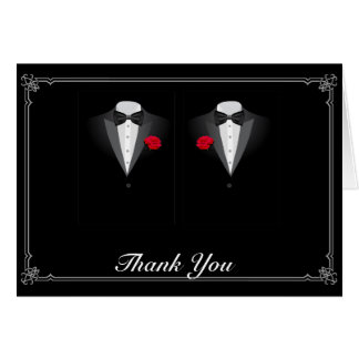 Two Tuxedos with Red Rose Gay Wedding Thank You Note Card