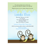 Two twin Silly Monkeys Boys Baby Shower 5x7 Invites