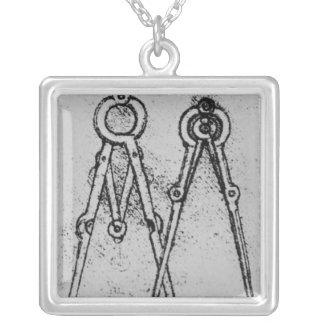 Two types of adjustable-opening compass silver plated necklace