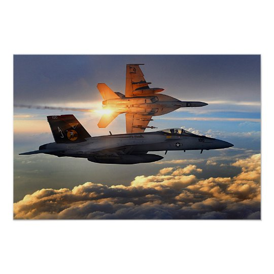 Two U.S. Navy F/A-18 Super Hornets Poster