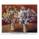 Two vases of Chrysanthemums by Claude Monet Poster