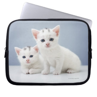 Two very young white kittens stare inquisitively laptop sleeve