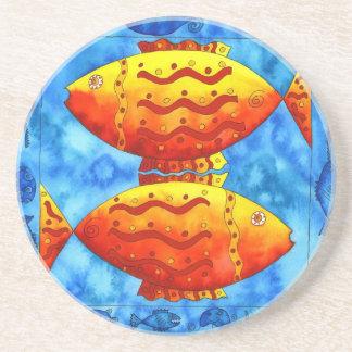 Two Vibrant Goldfish Coaster