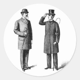 Two victorian gentlemen runder aufkleber