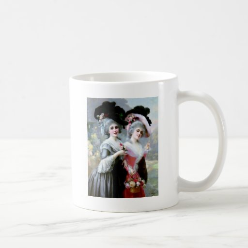 Two Victorian Ladies with Roses painting Coffee Mug
