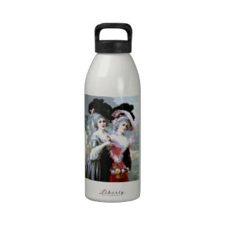 Two Victorian Ladies with Roses painting Water Bottle