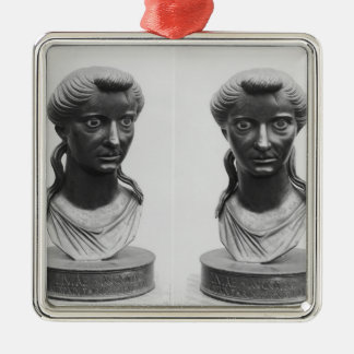 Two views of a bust of Livia Christmas Ornament
