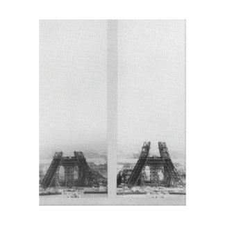 Two views of the construction of the Eiffel Gallery Wrap Canvas