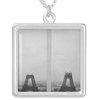 Two views of the construction of the Eiffel Silver Plated Necklace