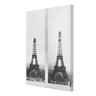Two views of the construction of the Eiffel Stretched Canvas Print