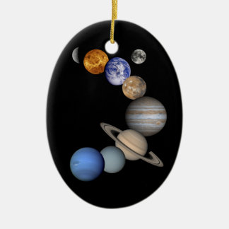 Two Views Of The Solar System Ceramic Oval Decoration