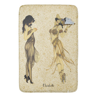 Two Vintage Retro Ladies Art Nouveau Floral Style Bath Mat