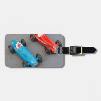 Two vintage toy cars luggage tag