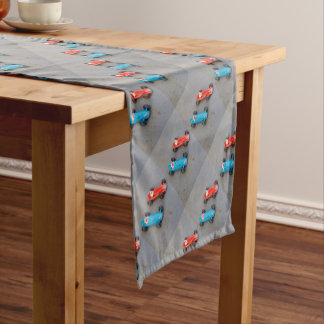 Two vintage toy cars short table runner