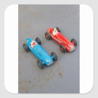 Two vintage toy cars square sticker