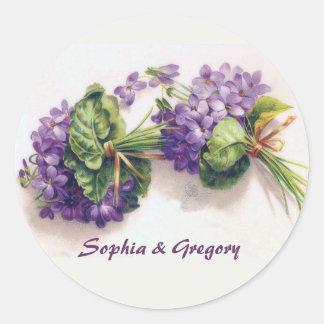 Two Vintage Violet Bouquets Round Sticker