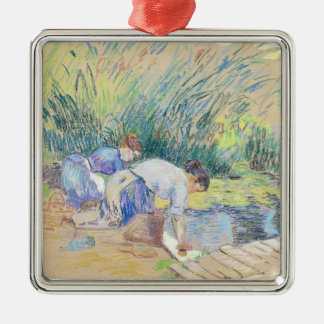 Two Washerwomen (pastel on paper) Christmas Ornament
