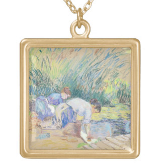 Two Washerwomen (pastel on paper) Gold Plated Necklace