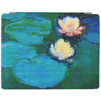 Two Water Lily Flowers Claude Monet Fine Art iPad Cover