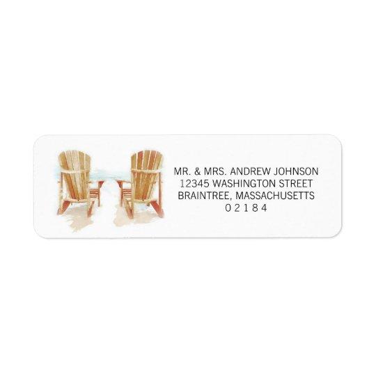 Two Watercolor Adirondack Beach Chairs Return Address Label