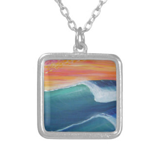 Two waves orange sky silver plated necklace