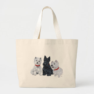 Two Westies and a Scottie Large Tote Bag